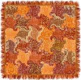 Vierkant kleurrijk tapijt met grunge gestreept en gewerveld patroon en rand vector illustratie