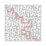 Vierkant labyrint met ingang en uitgang het vectorraadsel van het spellabyrint met oplossing stock afbeelding