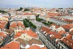 Vierkant Lissabon en Rossio van de Lift van Justa van de Kerstman royalty-vrije stock fotografie