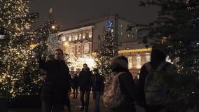 Vierkant met bomen met slingerlichten bij de winterstraat die van de nachtstad worden verfraaid stock videobeelden