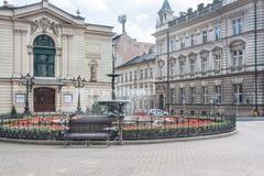 Vierkant met het Poolse die Theater in Bielsko Biala in 1890 wordt opgericht Stock Afbeelding