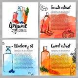 Vierkant ontwerpmalplaatje van brochures over organisch schoonheidsmiddel Boekje met organisch embleem Informatie over natuurlijk royalty-vrije illustratie