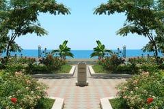Vierkant op zeekust Stock Foto's