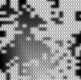 Vierkant patroon zoals metaalnetwerk op zwart-witte vlek gestippelde achtergrond Vierkant net in de textuur van de grungestijl Stock Fotografie