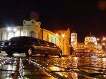 Vierkant in regenachtige nacht Stock Foto's