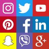 Vierkant sociaal media embleem of de sociale media reeks van het pictogrammalplaatje Stock Afbeelding