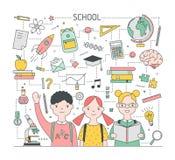 Vierkant terug naar het malplaatje van de Schoolbanner met aanbiddelijke blije die kinderen, leerlingen of klasgenoten door kanto vector illustratie