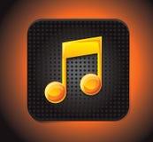 Vierkant toepassingspictogram met muzieknota Stock Foto