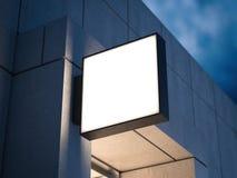 Vierkant uithangbord op het concrete gebouw het 3d teruggeven Stock Foto's