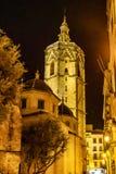 Vierkant van de Maagdelijke Heilige Mary met Kathedraal, Valencia, Spanje stock fotografie