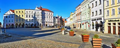 Vierkant van Vrede in Jindrichuv Hradec, Tsjechische Republiek stock afbeeldingen
