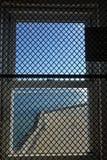 Vierkant venster bij Barnegat-Vuurtoren Stock Afbeelding