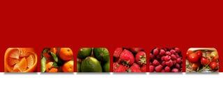 Vierkant vormenhoogtepunt van verse vruchten stock fotografie