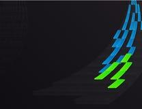 Vierkante abstracte lijn blauwe en groene kleur op zwarte of donkere achtergrond Stock Afbeelding