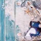 Vierkante achtergrond van zand, en bericht in een fles Stock Foto