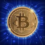 Vierkante blauwe achtergrond met bitcoin en microschakeling Stock Afbeelding