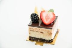 Vierkante cakestukken van chocolade Royalty-vrije Stock Fotografie