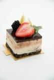 Vierkante cakestukken van chocolade Stock Foto