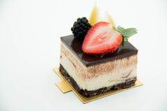 Vierkante cakestukken van chocolade Royalty-vrije Stock Foto
