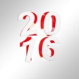 vierkante de groetkaart van 2016 met gesneden document en glanzende achtergrond Stock Foto