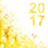 vierkante de groetkaart van 2017 op gouden glanzende vakantielichten Stock Afbeelding