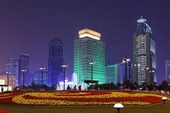 Vierkante de nachtscène van de Mensen van Shanghai Royalty-vrije Stock Foto's