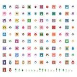 Vierkante de stickerreeks van de uilkleur royalty-vrije illustratie