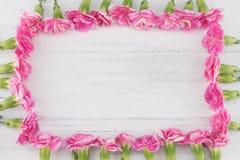 Vierkante die kroon van roze anjerbloemen wordt gemaakt royalty-vrije stock fotografie