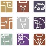Vierkante dierlijke pictogrammen Stock Foto's