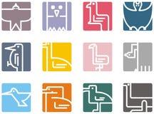Vierkante dierlijke pictogrammen vector illustratie