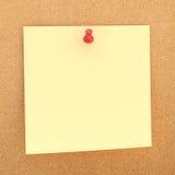 Vierkante document nota over cork raad Stock Afbeelding