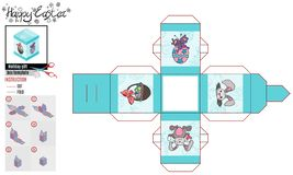 Vierkante doos voor Pasen-patroonturkoois met beelden royalty-vrije illustratie