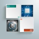 Vierkante Gatenmicrochip Industrie 4 infographic 0 Royalty-vrije Stock Afbeelding
