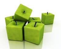 Vierkante Groene Appelen. Stock Afbeeldingen