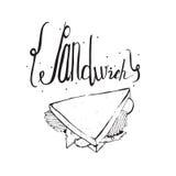 Vierkante hand getrokken illustratie met smakelijke sandwich en het van letters voorzien op bovenkant Zwart-wit, geïsoleerd op wi Stock Afbeeldingen