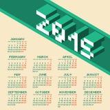 Vierkante het Jaar 2015 Kalender van de Pixelstijl Stock Afbeeldingen