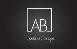 Vierkante het Kaderbrief Logo Design van ab met Zwart-witte Kleuren Royalty-vrije Stock Foto's