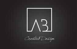 Vierkante het Kaderbrief Logo Design van ab met Zwart-witte Kleuren Stock Fotografie