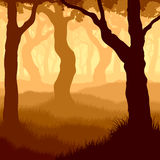Vierkante illustratie binnen bos. Stock Fotografie