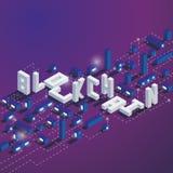 Vierkante illustratie op donkerblauwe en purpere achtergrond met isometrisch woord blockchain en klokken met verlichting stock illustratie