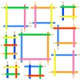 Vierkante kaders die van kleurpotloden worden gecreeerd royalty-vrije stock fotografie
