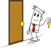 Vierkante kerel-deur en sleutel Stock Foto