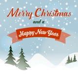 Vierkante Kerstmis en nieuwe jaarkaart met sneeuwheuvels en bomen royalty-vrije illustratie