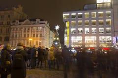 2014 - Vierkante Kerstmisboom van Wenceslas, Praag Stock Afbeeldingen