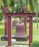 Vierkante Klokken in het centrum van Boeddhisme Nanshan op het eiland van stock afbeelding