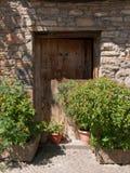 Vierkante oude steendeur en dubbel houten blad 2 royalty-vrije stock fotografie