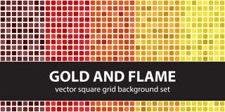 Vierkante patroon vastgestelde Goud en Vlam Vector naadloze tegelbackgrou vector illustratie