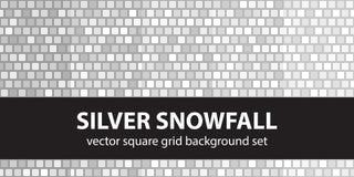 Vierkante patroon vastgestelde Zilveren Sneeuwval Vector naadloze tegelbackgro Royalty-vrije Stock Afbeeldingen