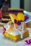 Vierkante plak van het buitensporige die dessert van het citroenschuimgebakje met yel wordt versierd Royalty-vrije Stock Fotografie
