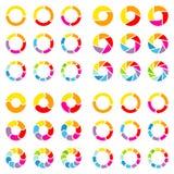 Vierkante Reeks Verschillende Cirkeldiagrammen met Pijlenkleur stock illustratie